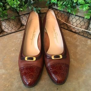Salvatore Ferragamo brown  chunk heel size 8